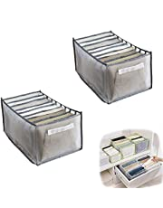 3PC Jeans Compartment Storage Box, 7 Gids Washable Wardrobe Clothes Organizer, Foldable Closet Drawer Organizer Mesh Separation Box - Save You Time & Space