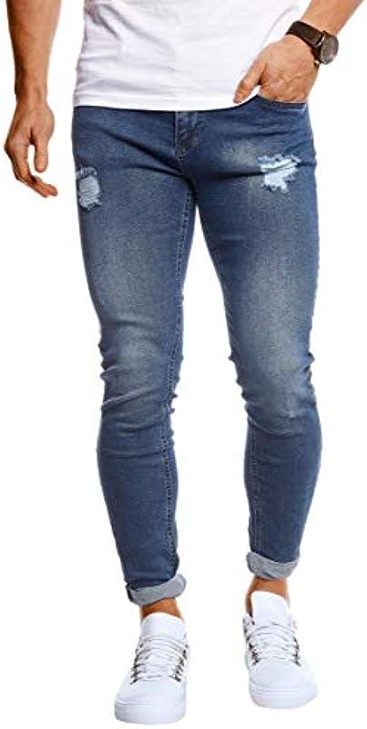 Leif Nelson LN1006 męskie spodnie jeansowe Slim Fit Stretch spodnie jeansowe dla mężczyzn: Odzież