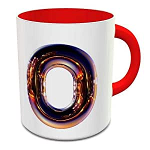 White & Red Ceramic Coffee Mug With Night Chrome Letter O