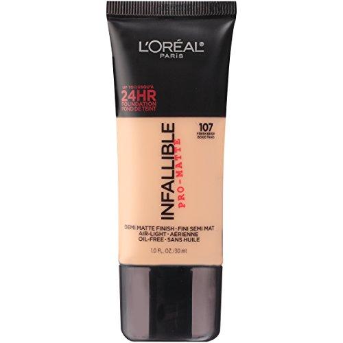 Lightweight Liquid Foundation - L'Oréal Paris Makeup Infallible Pro-Matte Foundation, 107 Fresh Beige, 1 fl. oz.