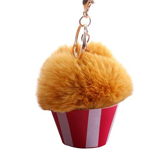 03SKaexuber Pompom Keyrings for Women Fluffy Ice Cream