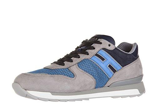 Hogan Rebel chaussures baskets sneakers homme en cuir allacciato R261 blu
