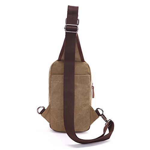 Outreo Bolsa Sport Bolso Bandolera Hombre Pecho Bolsos de tela Vintage Bolsas de Viaj Casual Chest Bag Peque?as Lona Colegio Outdoor Originales Monta?a Beige