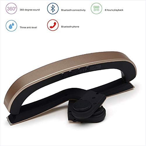 Bluetooth 5.0 Bone Conduction Headphones, Wireless Sport Headset Stereo Waterproof and Can Connect Instruments, Support Computer, MP3, Mobile Phone,Gold