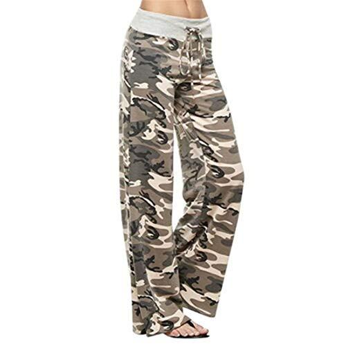 CROSS1946 Fashion Women's Elastic High Waist Yoga Drawstring Pants Straight-Leg Workout Trousers Loose Fit M