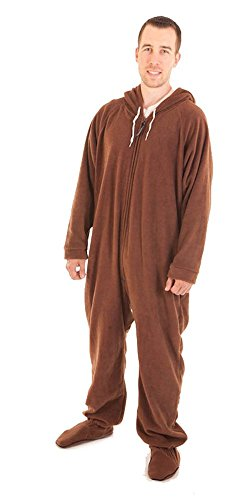 Forever Lazy Footed Adult Onesie - Lay Down Brown - XL