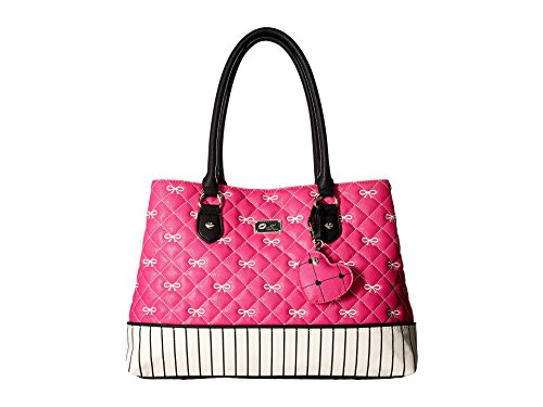 Luv Betsey By Betsey Johnson Bow Quilted Large Carlie Satchel Handbag - Fuschia/White