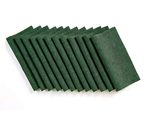 (Solino Home Linen Cocktail Napkin - 9 x 9 Inch, Set of 12-100% Natural Fabric Handcrafted Machine Washable Athena - Forest Green)