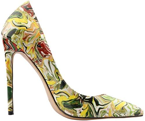 12CM Aiguille Calaier Glisser Peinture Femme Jaune sur Escarpins Cause Chaussures EBqBSrxwTZ