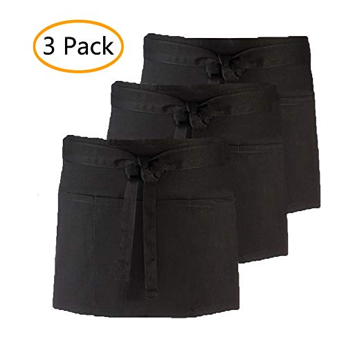 (CLOCOR 3 Pack Half Aprons for Men Women with 3 Pockets - Black Short Server Aprons, 24 x 12 inch, Waist Aprons for Holding Server Book Guest Check Card Holder)