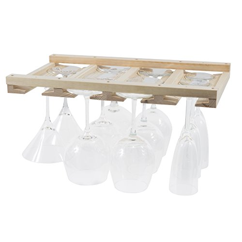 Artifact Design Wine Glass Rack Makes Dull Kitchens or Bar Looks Great Perfectly Fits 6 -12 Glasses Under Cabinet Easy to Install with Included Screws Great Hanging Bar Glass Rack (Natural) (Cabinet Bar Accessories)