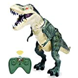 Tomatoa Remote Control Dinosaur Toy Electric Walking Dinosaur Toy Light Sound Action Figure Infrared Gift for Boys Girls 3 4 5 6 7 8 9 10 11 12 Years Old (Green)