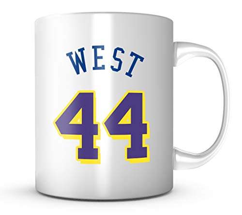 JERRY WEST #44 Los Angeles Basketball Mug - Jersey Number Purple & Gold Coffee Cup
