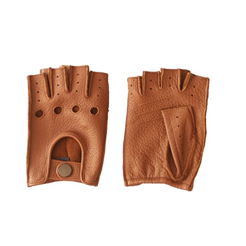 - Nappaglo Women's Deerskin Fingerless Gloves Half Finger Leather Driving Motorcycle Cycling Riding Unlined Gloves (S (Palm Girth:6.5