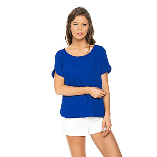 Shopglamla Classic Curved Hem Boxy Zip Back Scoop Neck Top Royal Blue M