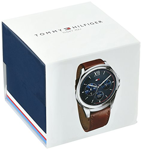 Tommy Hilfiger 'Smartwatch' Quartz Stainless Steel and Leather Casual Watch, Color:Brown (Model: 1791406)