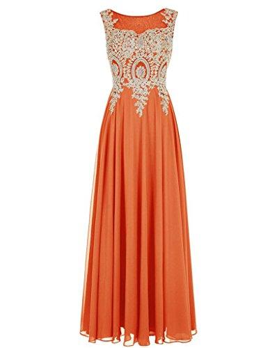 Appliqué En Perles Cdress Longues Robes De Bal En Mousseline De Soie Des Robes Formelles Soirée De Fête Pure D'orange