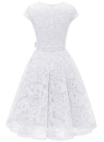 Cocktail Kleid Brautjungfernkleid Damen Vintage aus MUADRESS Knielang Spitzen Weiß Stil Cape q8x0Ind5n
