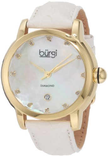 Burgi Women's BU14W Round Swiss Quartz Diamond Date Strap Watch