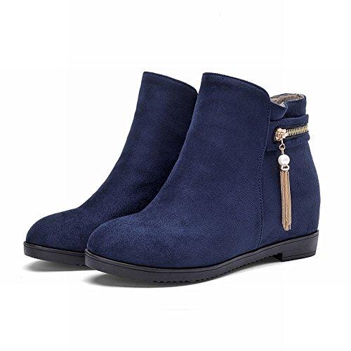 Carolbar Womens Zipper Tassels Pendant Decorations Pull-on Fashion Hidden Heel Short Boots Blue AmEz5mx0