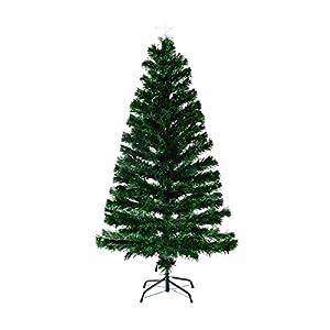 HomCom 6' Artificial Pre-Lit White LED / Fiber Optics Christmas Tree w/ Star Topper