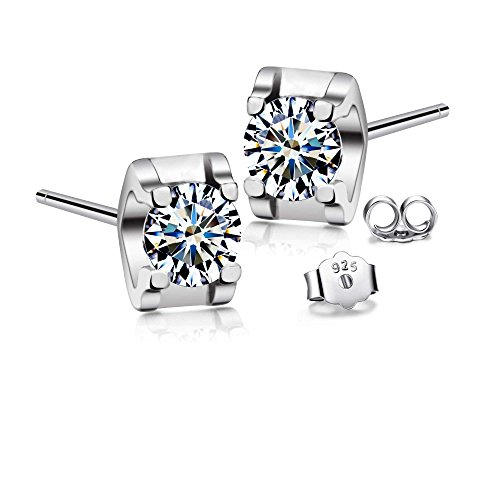 7086877b8 T400 925 Sterling Silver Stud Earrings Cubic Zirconia from Swarovski CZ  Simulated Diamond Unisex Gift for