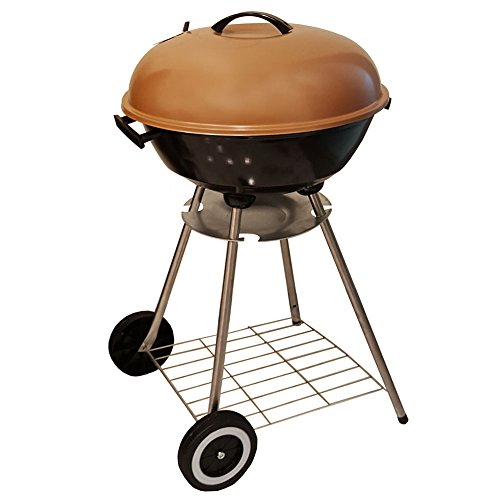 Unique Imports BBQ Charcoal Copper Kettle Grill 18″ with Moving Wheels Outdoor Smoker Heat Portable Backyard Cooking Camping Steak Backyard Pit Master & Tailgating