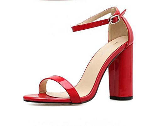 Sandalias de la correa del tobillo del talón del tobillo de la bomba 10cm Zapatos de vestir Mujeres del color puro de la punta abierta Hebilla del cinturón D'Orsay OL Casualidad Zapatos de la corte Ro Rojo