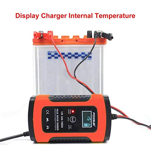 JICHUIO 12V Motorcycle /& Car Automatic UPS Intelligent LCD Display Battery Charger EFB AGM GEL Pulse Repair Battery Charger