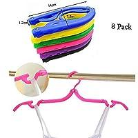 Folding Hanger,Portable Folding Clothes Hanger, Lightweight,Extra-Large Load-Bearing, Foldable,Non-Slip, Travel,Home,Gift Pack Of 8 (Random Color)