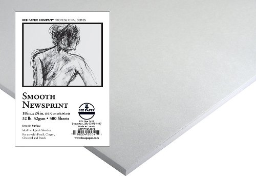 Bee Paper Smooth Newsprint Pack, 18-Inch by 24-Inch, 500 Sheets per Pack