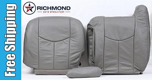 2006 GMC Sierra 3500 SLT SLE Driver Side Complete Replacement Leather Seat Covers, Gray ()