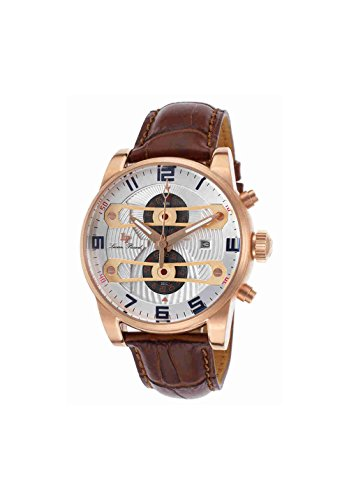 [Lucien Piccard Men's 'Bosphorus' Quartz Stainless Steel and Leather Casual Watch, Color:Brown (Model: LP-40045-RG-02S-BRW)] (Leather Genuine Chronograph)