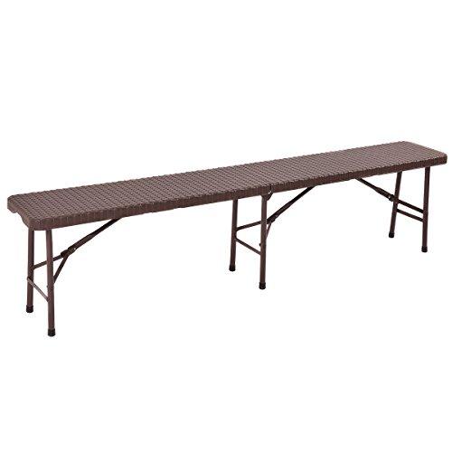 Tangkula 6 39 folding bench portable rattan design indoor for Outdoor mobel rattan