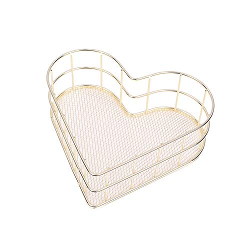 X Hot Popcorn Metal Wire Mesh Basket Organizer Love Heart Shape Desk Storage Set for Office Bathroom Bedroom Essential Oil Storage Makeup Brushes Organizer Medium(Gold)