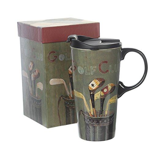 Ceramic Travel Mug 17 oz. Coffee Cup Sealed Lid With Gift Box, Golf Club