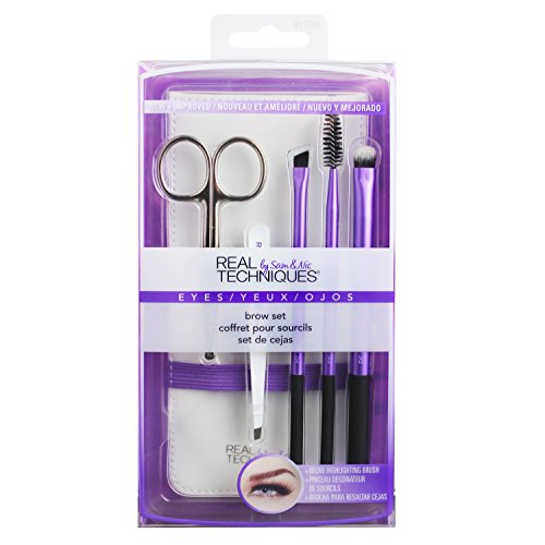 Real Techniques Cruelty Free Brow Set, Includes: Brow Scissors, Angled Tweezers, Brow Brush, Brow Spoolie, Brow Highlighting Brush, and Case