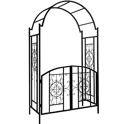 OUTOUR Elegant Garden Arch with Gate, Garden Arbor Trellis Arbour Archway for Climbing Plants Roses Vines Support Rack, Outdoor Garden Lawn Backyard Patio, Matte Black