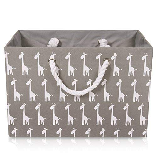 Foldable Gray Canvas Storage Basket Rectangle Fabric Basket with White Giraffe Pattern – Perfect for Household Storage, Fabrics or Toys. Width 16.5ins x Depth 12.5ins x Height 11ins