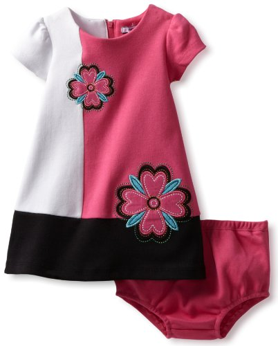 Hartstrings Baby Girls' Interlock Colorblock Dress And Diaper Cover Set