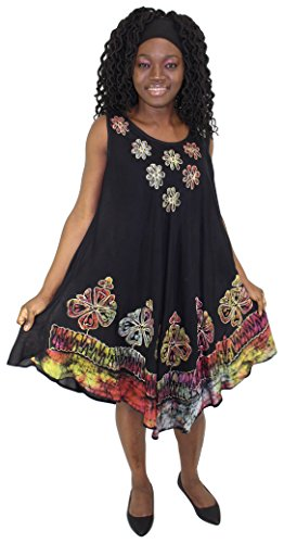 Dresses African Inspired (Tye It Up Black Batik Embroidered Dress Sundresses For Women (C))