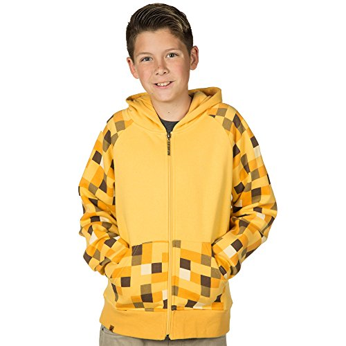 Minecraft Creeper Costume Jinx (Minecraft Big Boys' Ocelot Premium Zip-Up Hoodie (Yellow, Small))