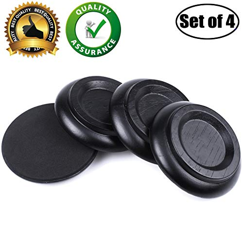 WOGOD (PA-11)Solid wood Upright Piano Caster Cups .(1 Set of 4 Black)