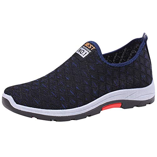 Slip On Sneakers,ONLY TOP Lightweight Casual Mesh Shoes Breathable Running Sneakers Fashion Loafer Walking Shoes Blue