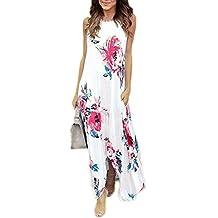 YMING Women's Floral Printed Long Dress Short Sleeve Empire Floor-length Dress