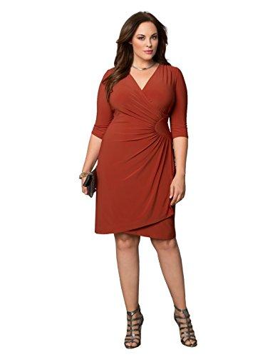 Kiyonna Women's Plus Size Ciara Cinch Dress 1X Terra Cotta