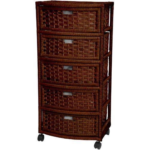 Diamondgift Dresser Casters Wheels Bathroom Bedroom Wicker Storage Cabinet Rattan 5 Drawer Mocha