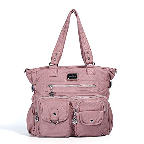 Con Las Suaves Pink De Cuero Cremallera Sólido La Color Hombro Mujeres Diagonal Moda Bolso Del C7Bq54ww