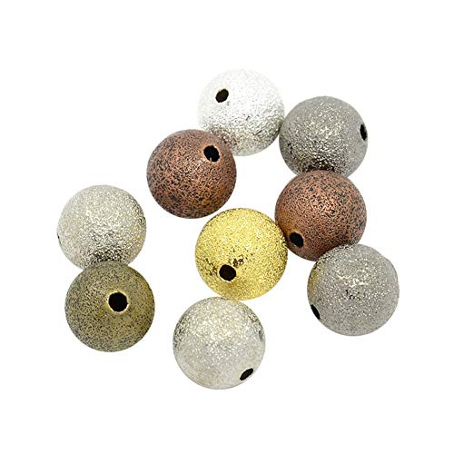 ARRICRAFT 200pcs 8mm Round Brass Stardust Beads Mixed Color Spacer Beads for Bracelet Necklace Earring Making