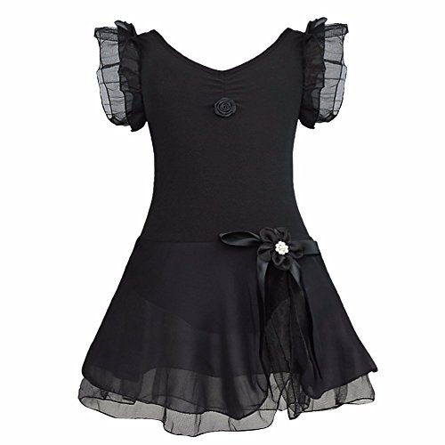 [FEESHOW Girls' Gymnastic Ballet Leotard Dance Dress Tutu Skirt Princess Costume Black 8-10] (Chic Costumes)